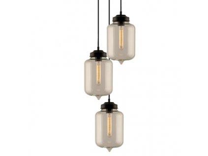 Lustr - Závěsná lampa London Loft 2 CO průhledná