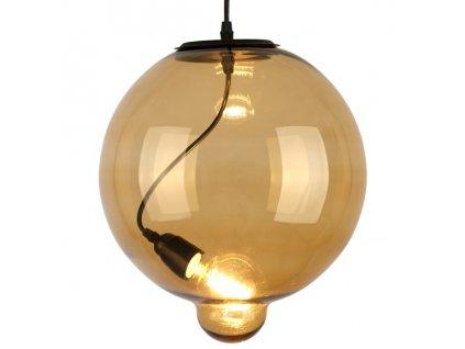Lustr - závěsná lampa MODERN sklo buble cognac
