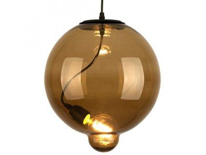 Lustr - závěsná lampa MODERN sklo buble hnědá