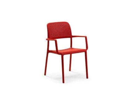 Židle Bora s područkami červená