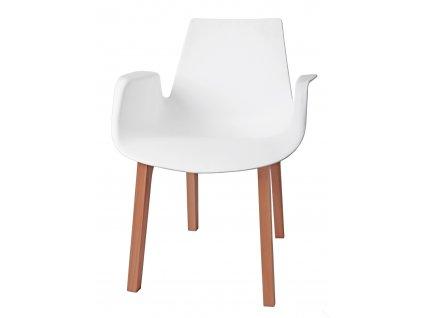 Židle MOKKA bílá, dřevěné nohy