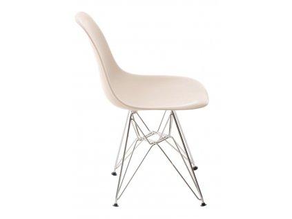 Židle P016 PP beige, chromované nohy