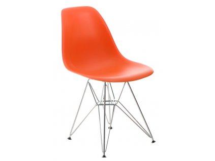 Židle P016 PP oranžová, chromované nohy