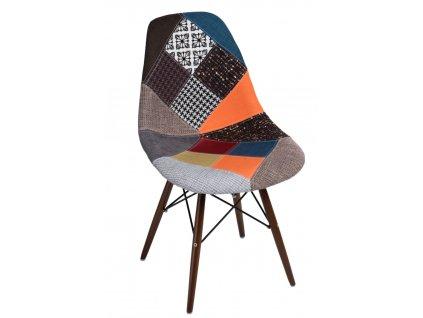 Židle P016V patchwork barevná/tmavá
