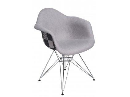 Židle P018 DAR vzor šedá/patchwork