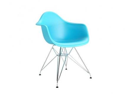 Židle P018 PP oceán modrá, chrom nohy