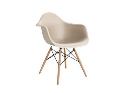 Židle P018V PP béžová, dřevěné nohy