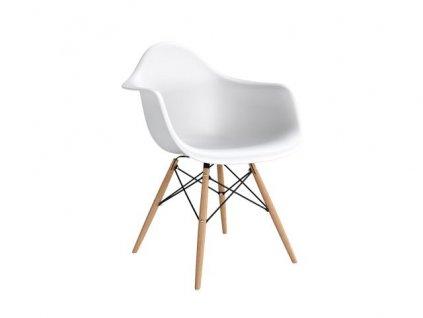 Židle P018V PP bílá, dřevěná nohy hf