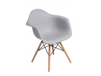 Židle P018V PP světlá šedá, dřevěné nohy