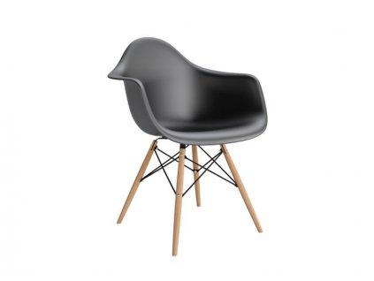 Židle P018V PP černá, dřevěné nohy