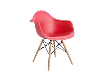 Židle P018V PP červená, dřevěné nohy HF