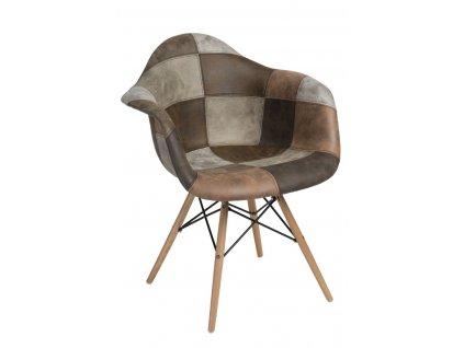 Židle P018V patchwork béžová hnědá