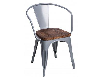 Židle Paris Arms Wood stříbrná sosna