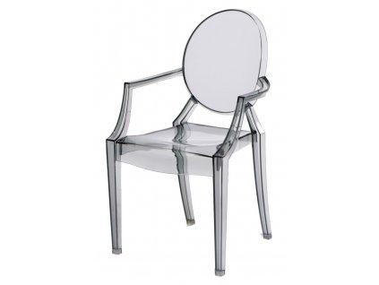 Židle Royal Jr. transparentní kouřová