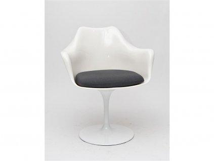 Židle TULAR bílá/šedý polštář