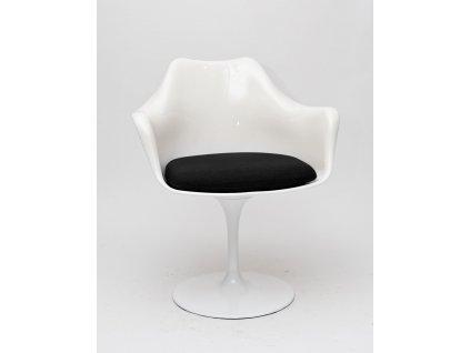 Židle TULAR bílá/černý polštář