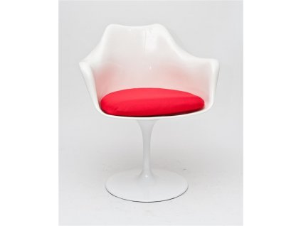 Židle TULAR bílá/červený polštář
