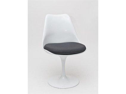 Židle Tul bílá/šedý polštář