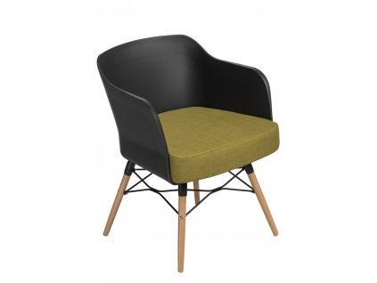 Židle Viva černý s olivovým polštářem