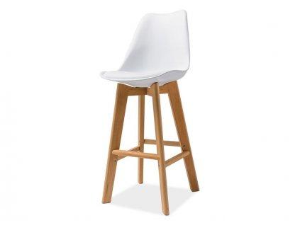 Barová židle KRIS H-1 buk/bílá