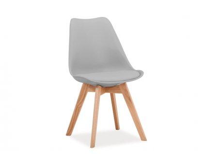 Židle KRIS dub/světle šedá