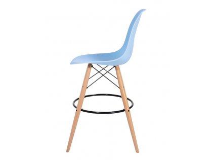 Barová židle DSW WOOD světle modrá č.12 - základ je z bukového dřeva