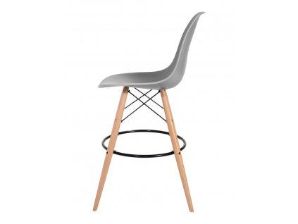 Barová židle DSW WOOD světle šedá č.05 - základ je z bukového dřeva