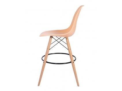 Barová židle DSW WOOD teple krémová č.32 - základ je z bukového dřeva