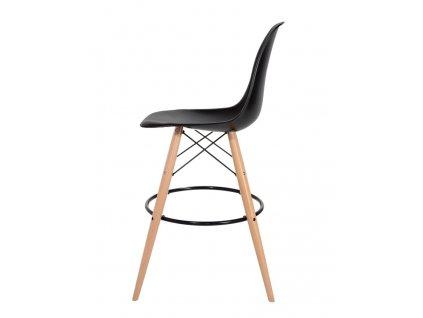 Barová židle DSW WOOD černá č.03 - základ je z bukového dřeva