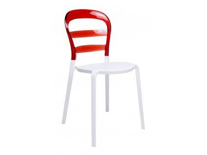 Židle CARMEN červená - opěradlo polykarbonát