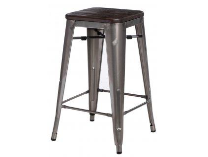 Barová židle Paris Wood 65cm kovová sosna kartáčovaná