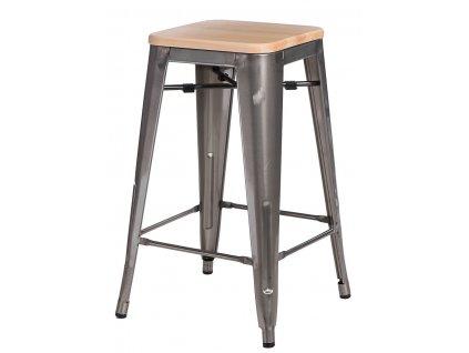 Barová židle PARIS WOOD 65cm kovová sosna přírodní