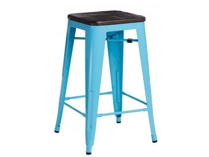 Barová židle PARIS WOOD 65cm modrá sosna kartáčovaná