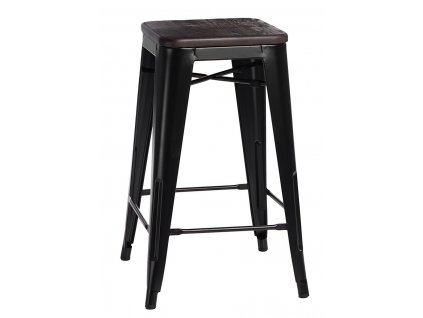 Barová židle Paris Wood 65cm černá sosna kartáčovaná