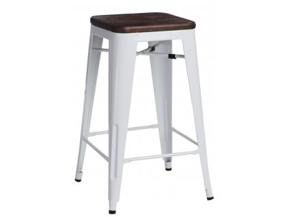 Barová židle PARIS WOOD 75cm bílá sosna kartáčovaná
