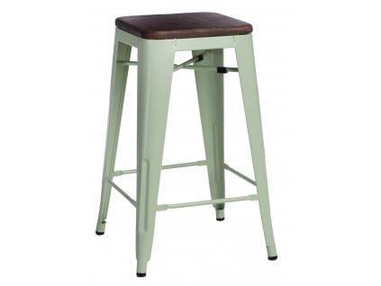 Barová židle PARIS WOOD 75cm zelená sosna ořech