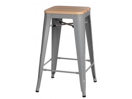 Barová židle PARIS WOOD 75cm šedá sosna přírodní