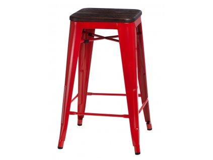 Barová židle PARIS WOOD 75cm červená sosna kartáčovaná