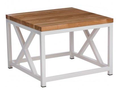 Stolek LOFT 60x60 bílý profil 30 mm lakovaná deska z přírodní třešně