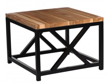 Stolek LOFT 60x60 černý profil 30 mm lakovaná deska z přírodní třešně