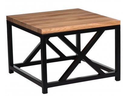 Stolek Loft 45x45 černý profil 30 mm lakovaná deska přírodní dub