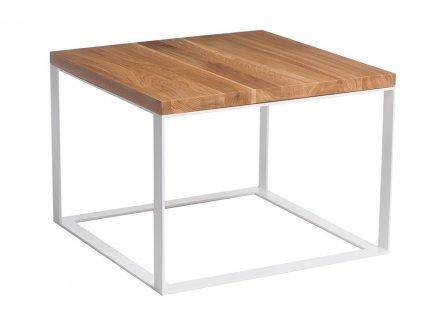 Stolek SQUARE 45x45 bílá plocha. 40 mm lakovaná deska přírodní dub