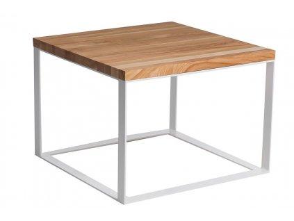 Stolek Square 45x45 bílá plocha. 40 mm lakovaná deska z přírodní třešně