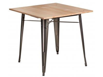 Stůl PARIS WOOD kovový přírodní sosna