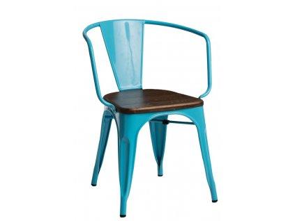 Židle Paris Arms Wood modrá sosna ořech