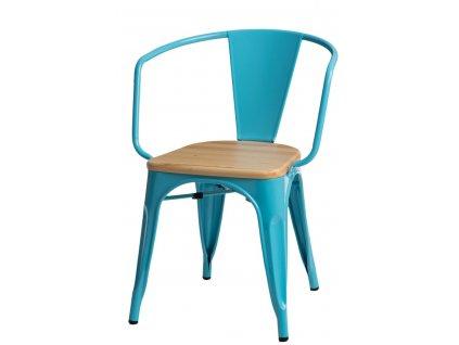 Židle Paris Arms Wood modrá přírodní sosna