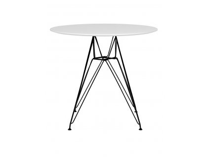 Stůl DSR fi 80 bílý, deska mdf - lakovaný základ