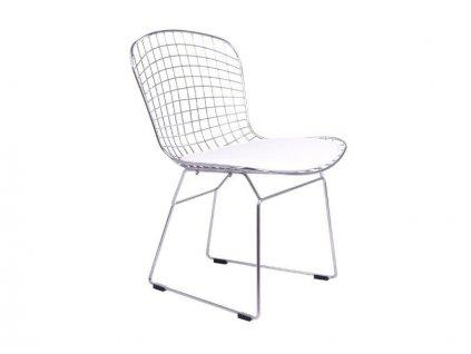 Židle NET, chrom - bílý polštář