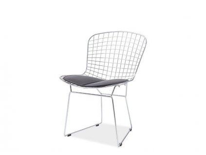 Židle NET, chrom - černý polštář