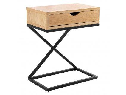 Skříňka CROSS - skříňka s dubovou zásuvkou, kovové nohy